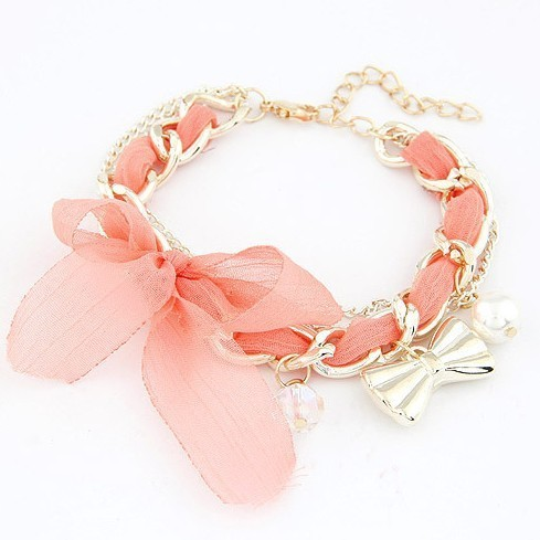 Fashion Korea lace woven bowknot bracelet wholesale free shipping Ribbon woven chain bracelet jewelry for women 2014 PT36