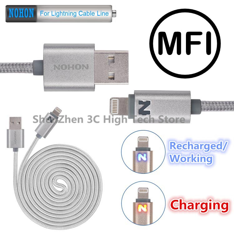 NOHON MFI iPhone5 5S SE 5C 6 Plus ipad 4 mini Air 100cm N LED SMART Lightning USB Data Charger Cable Line IOS 7 8 9 - Shenzhen 3C High-Tech Store store