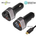 WarmSea USB Car Charger Quick Charger 3 0 and 2 port 2 4A 2 fast charing