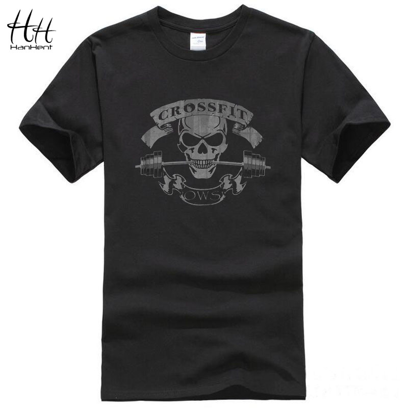 HanHent Crossfit Skull Sport T Shirts Men Gym Training T-Shirt Top Tees Swag Cotton Tee shirt Short Sleeve Tee shirts Fitness(China (Mainland))