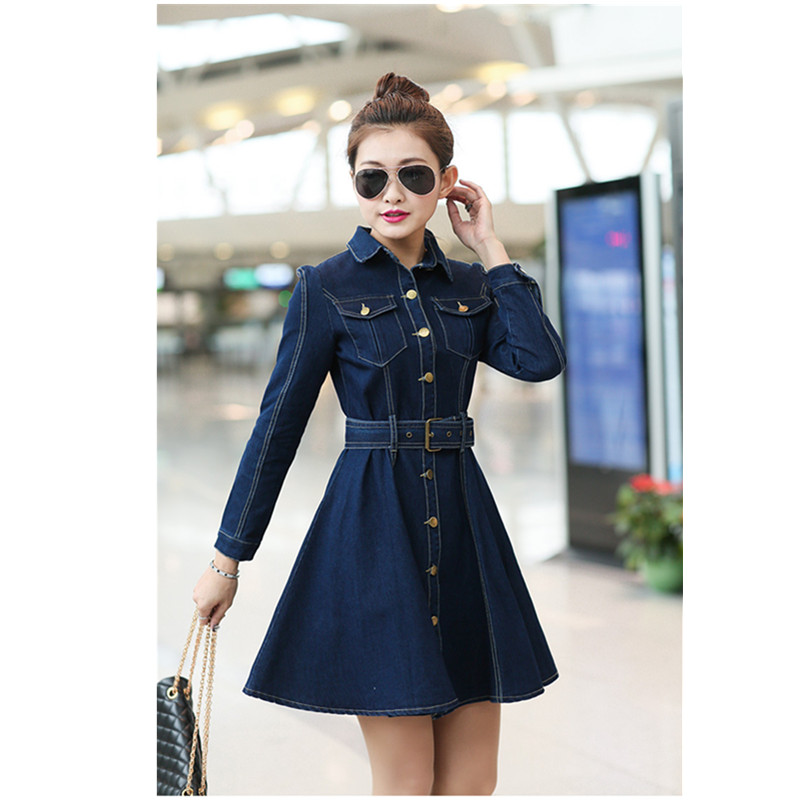 Womenu0026#39;s Denim Dresses 2016 Summer New In Fashion Korean Style Retro Long Sleeves Solid Color ...