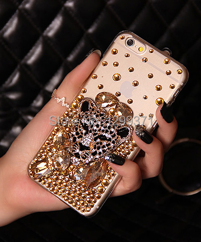 Gold Fox Leopard Bling Diamond Phone Case Cover For Iphone 6 6S Plus 5 5C 4