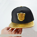 Newly hip hop Transformers black gold snake leather baseball caps one de aba reta chapeu masculino