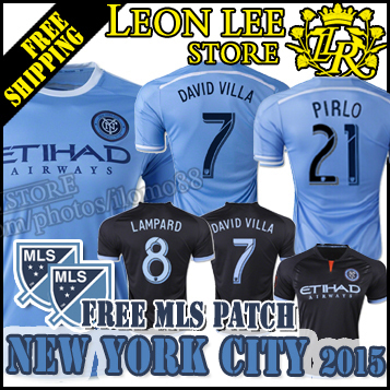 MLS jersey New York City FC 2015 Home away black soccer jersey football shirt DAVID VILLA LAMPARD MIX Free MLS New York PIRLO 21(China (Mainland))