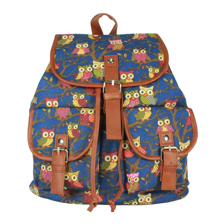 2015 European and American bags 5 colors owl pattern casual fashion women backpacks wholesale canvas backpack famale rucksack(China (Mainland))
