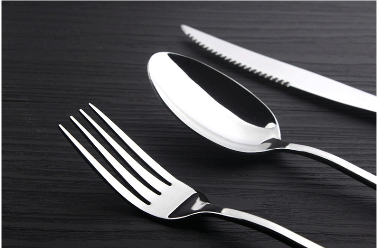 Buy 10 Pcs western food dinnerware set top quality stainless steel steak knife fork spoon three-piece cheap