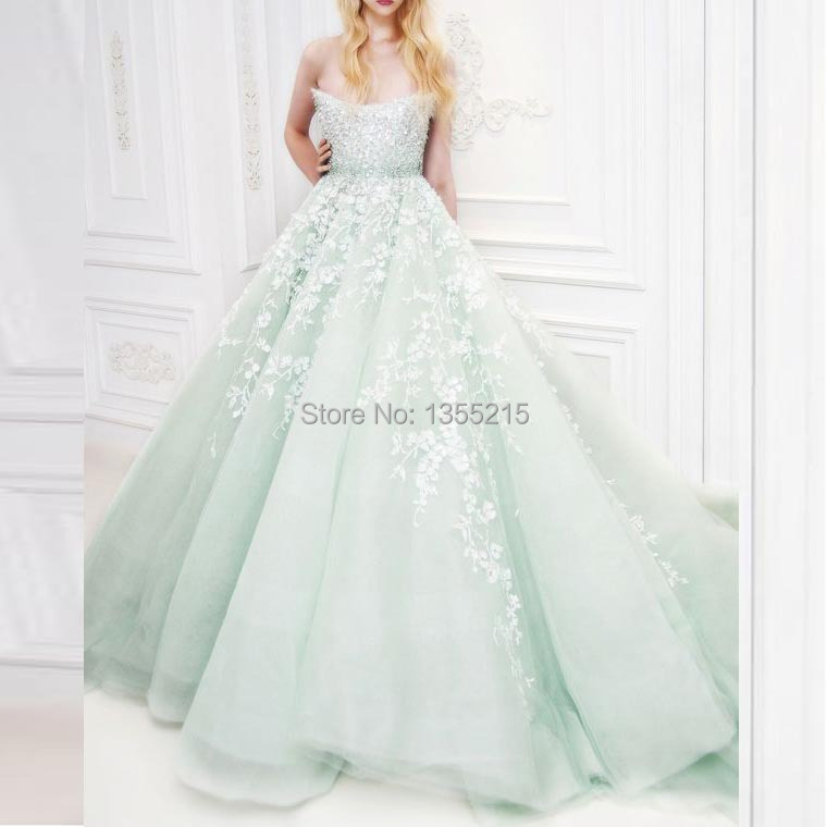 Mint Green Organza Wedding Dress 2016 Strapless Sleeveless