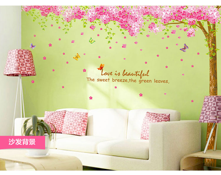 Romantic Cherry Flowers Family Tree Home Decoration Wall Stickers Cheap Wall Decor Art Decals