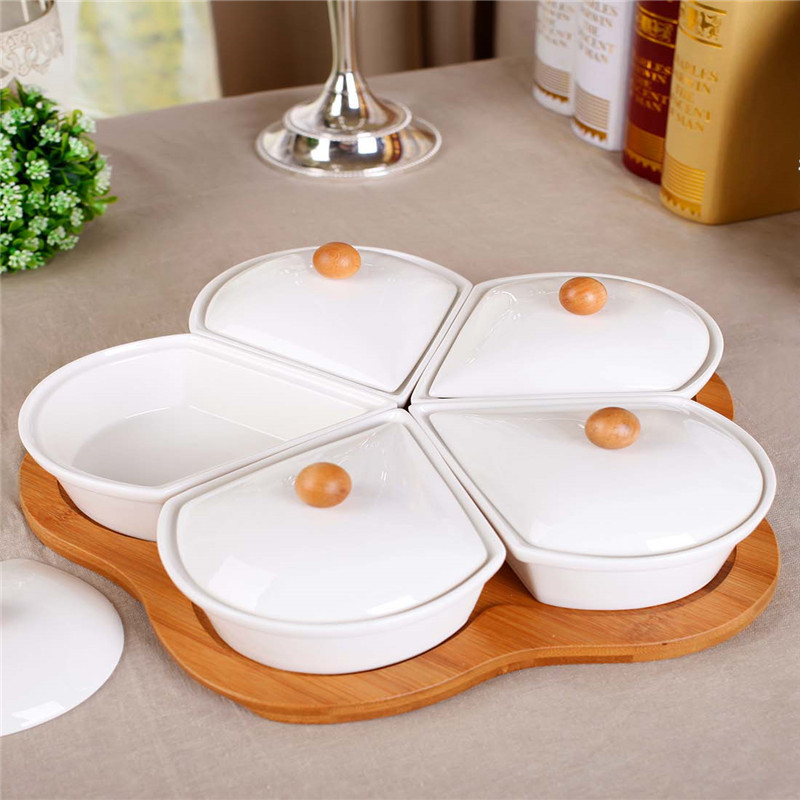 A Qiou style New Year gift ideas lidded ceramic dessert plate fruit snack platter ruled<br><br>Aliexpress