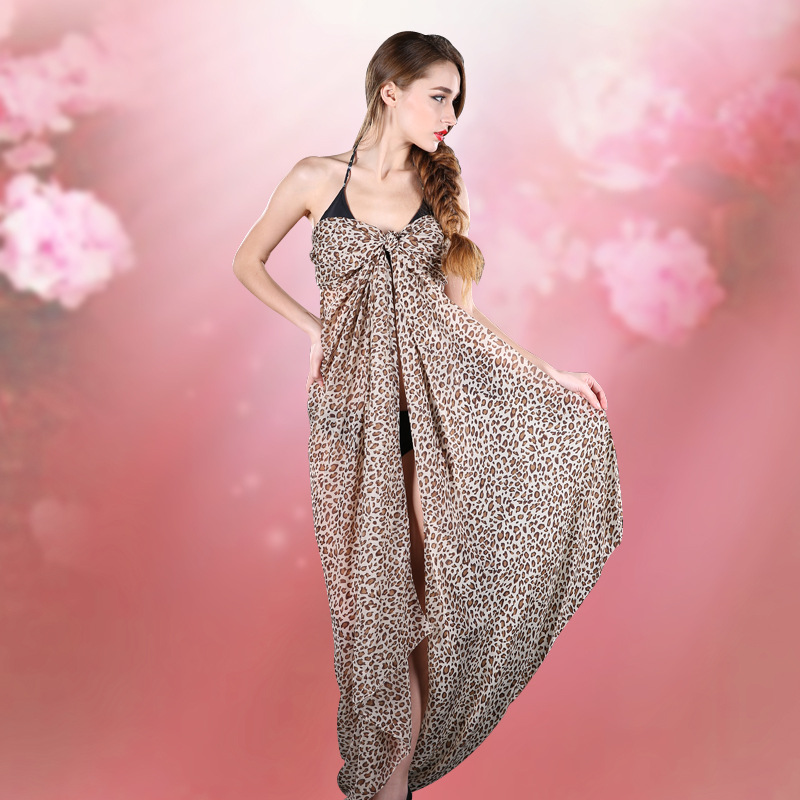2016 super wide beach towel and leopard air conditioning dual-use sunscreen shawl(China (Mainland))