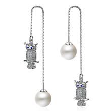 JYouHF 925 Sterling Silber Perle Ohrringe für Frauen Exquisite Mode Dame Eule Tier Angemeldet Drop Ohrringe Aretes Bijoux Femme(China)