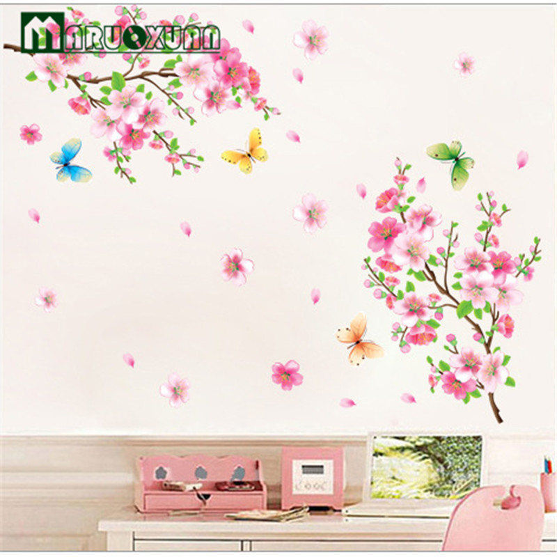 Beautiful peach creative removable wall stickers living - Beautiful wall stickers for living room ...