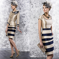 New Design Three Quarter Sleeve Knee Length Long Champagne Mother of the Bride Dresses with Jacket