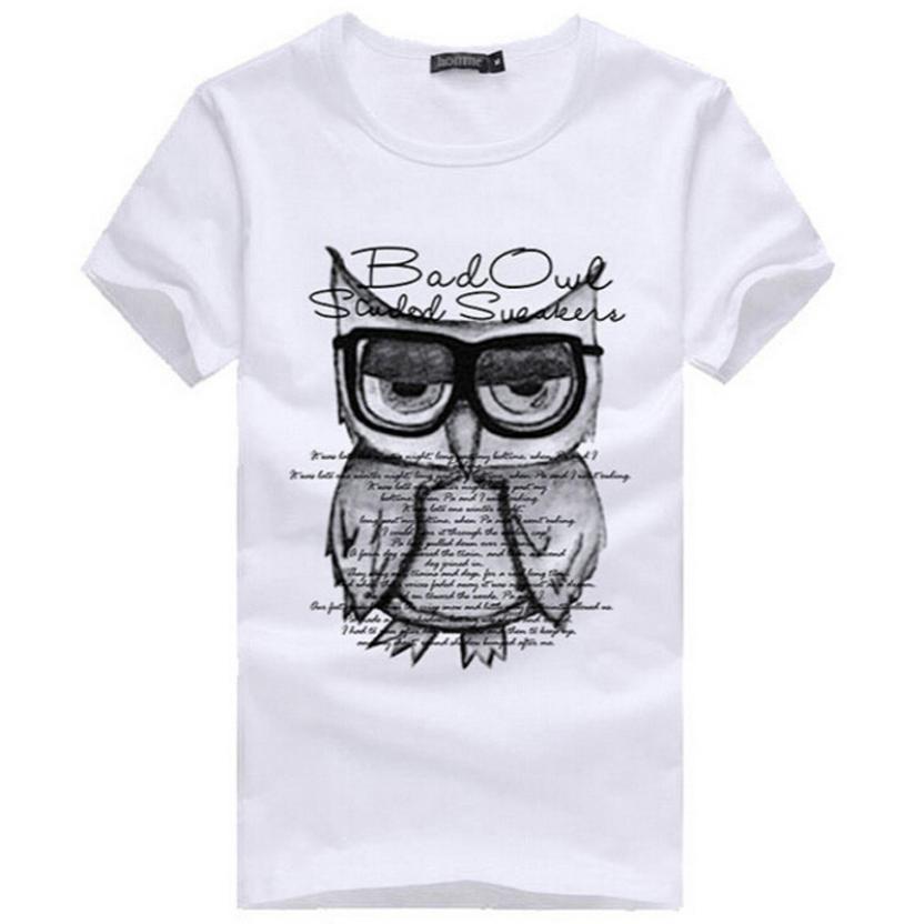 Fashion Print Men T-Shirt 2017 Owl Print T Shirt Cropped Tops Cotton Short Sleeve Round Neck Tee Shirt Men Chemise Male De232