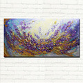 Abstract Lavender Field Oil Painting On Canvas Landscape Purple Flower Wall Art for Living Room Home