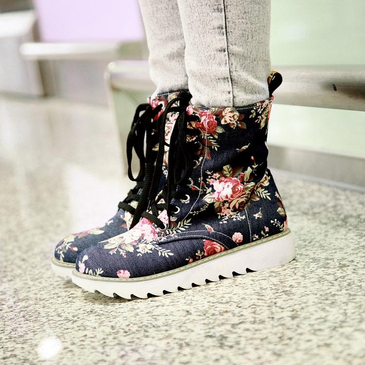 Fashion printed denim fabric lace running comfort women mountaineering boots free delivery<br><br>Aliexpress