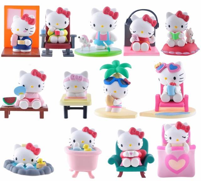 Милый Hello Kitty 13 шт. пвх рисунок кукла комплект на с фон на день святого валентина подарки бесплатно shippijng