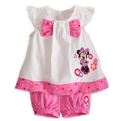 2015 girls summer suits 100% cotton cartoon casual short-sleeved T-shirt + short pants Baby girl clothes - Panda small shops store