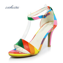 9 CM Spike Heels Peep Toe Sandals Buckle Strap Fashion Sexy Party Woman Shoes Large Size 32cm-44cm Black White Rainbow High Heel