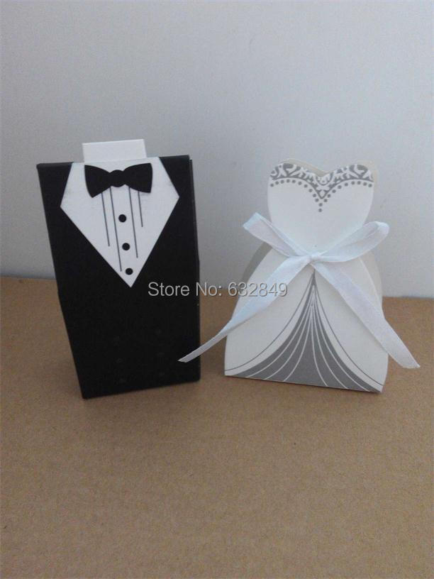 Groom Bride Wedding Favor Boxes Suit Dress Candy Box Ribbon 5=25Pairs - Yiwu Wedding&Baby Favors store