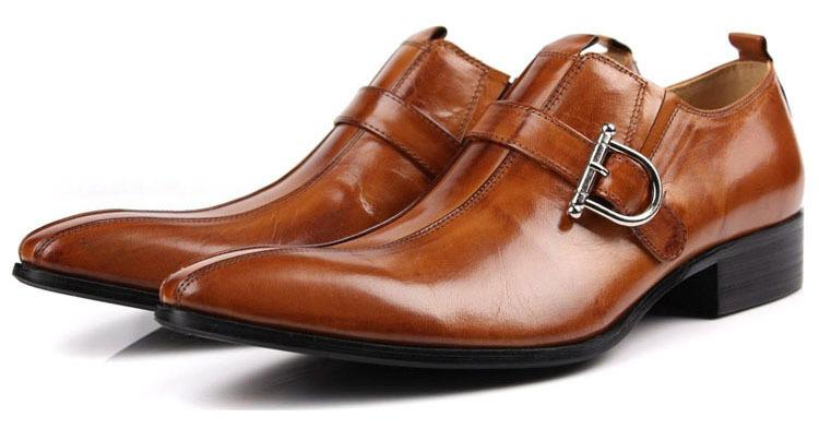 KUTA NEW 2014 Fashion Buckle Shoes Comfortable Leather Work British style Pointed Toe Men's Plus Size 44 45 - Kuta Co., Ltd. store