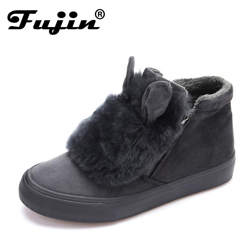 New high top suede Women winter shoes Fur Warm slipony Winter Boots Women Fashion Ankle Boots plush ear Women Boots botas