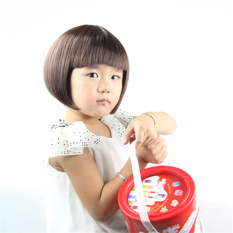 fashion black/brown children wig hair with bangs heat resistant synthetic short wigs cosplay child wig female child wigs kids(China (Mainland))