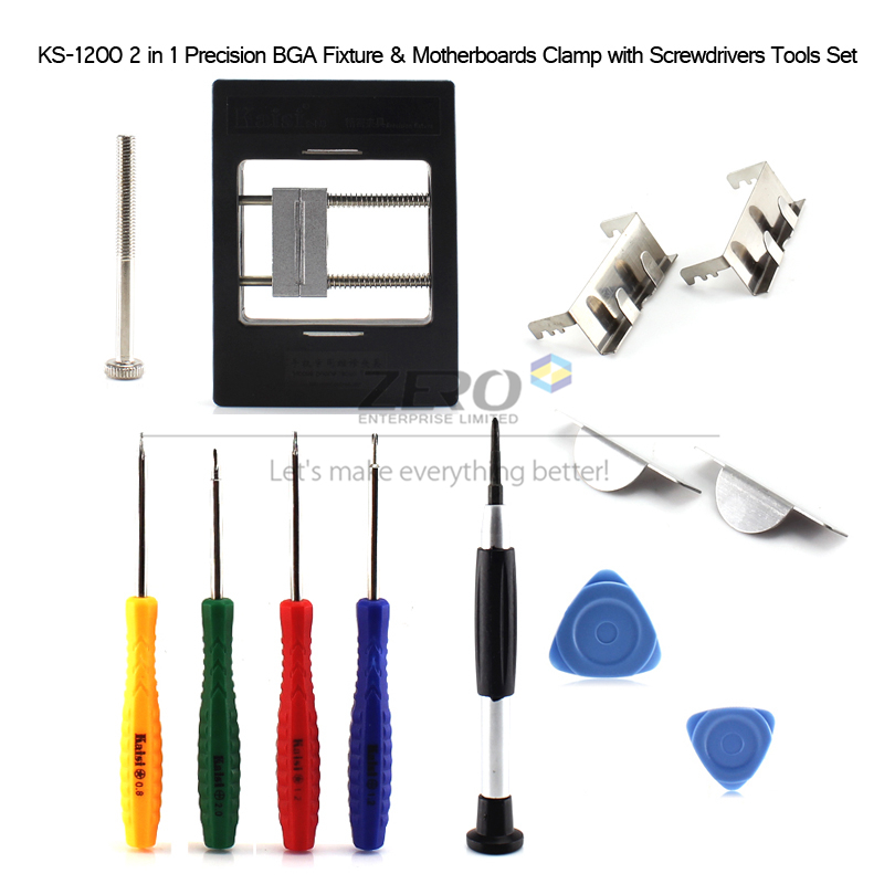 HK Post Free! Kaisi KS-1200 2 in 1 Precision BGA Fixture Motherboards Clamp Cell Moblie Phone Repair Screwdrivers Tools Set Kit(China (Mainland))