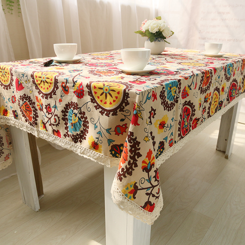 Bohemian style table cloth flax white lace print cotton household decoration square rural fresh waterproof oilproof S4ZB001