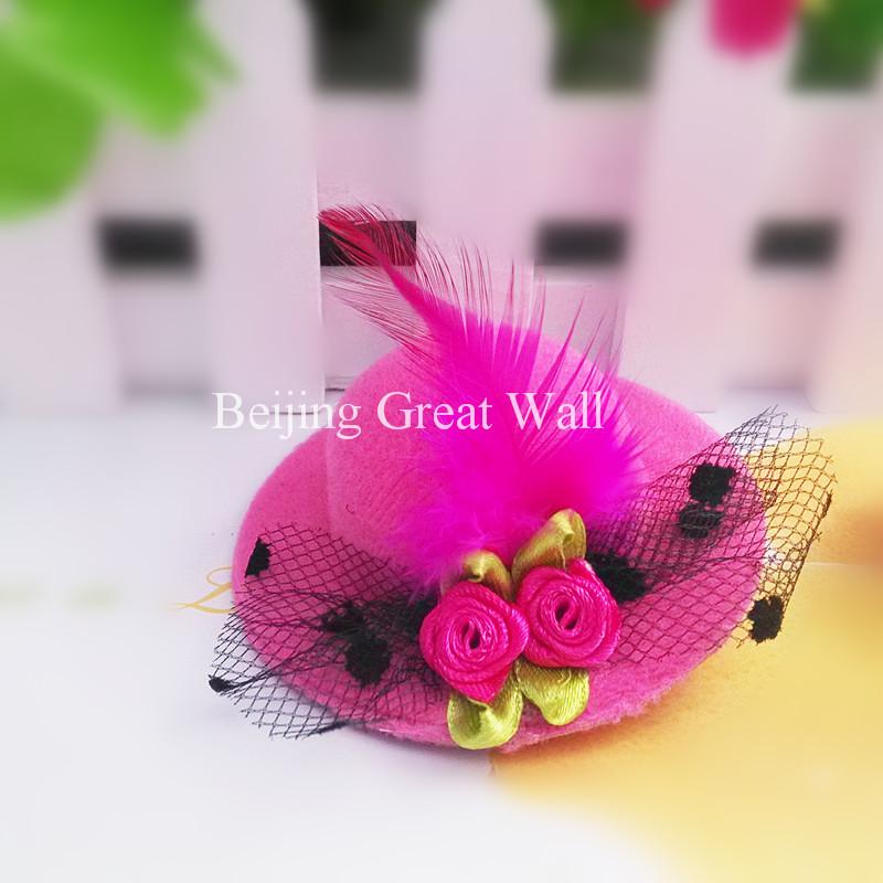 1PC New Party Small Fur Hat Flower Yarn Hairpins Kids Accessories Children Accessories Baby Hair Accessories Party Hair Clip(China (Mainland))