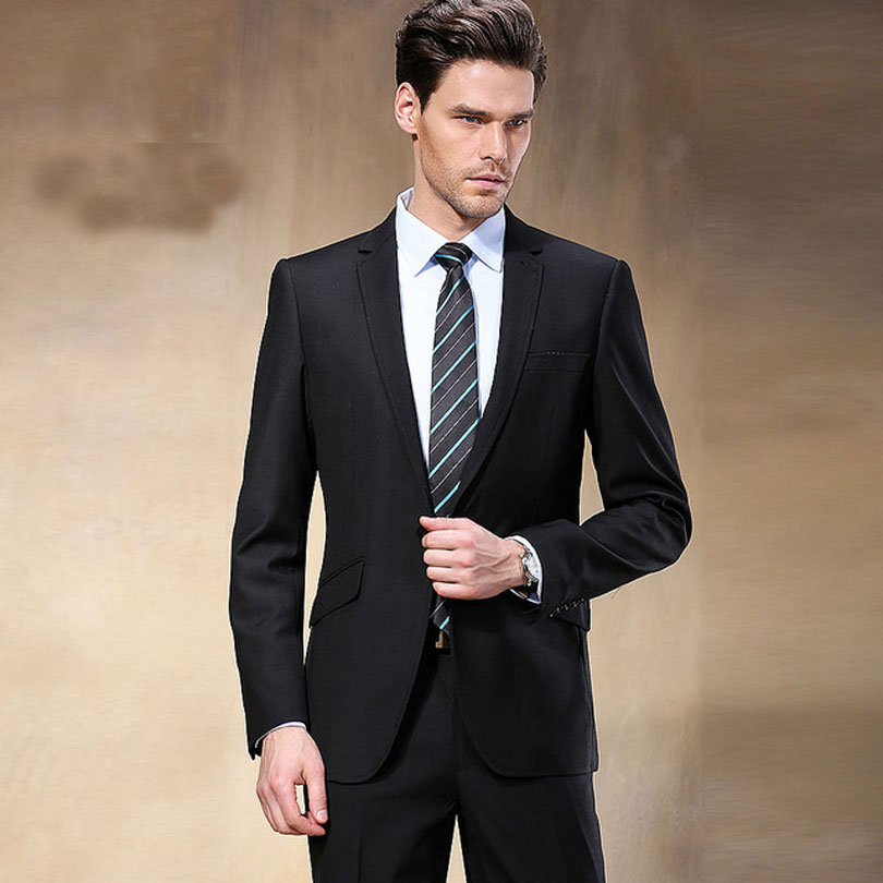 New Western Style Black Color Men Business Suits Brand Boss Suit For Men's Wedding Groom Blazers Tuxedos(Jacket+Pants)(China (Mainland))