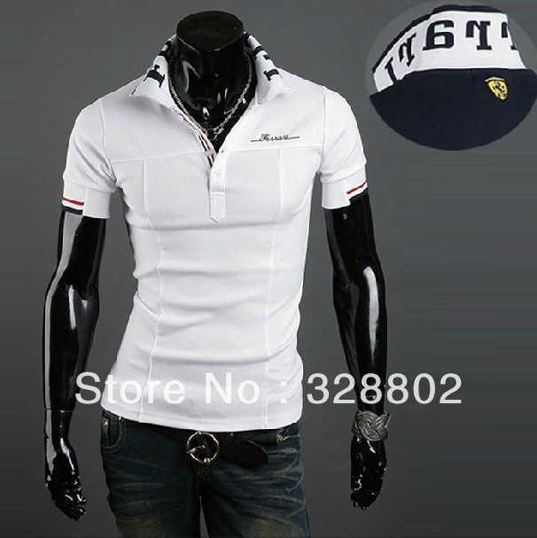 NY Men's T-shirts  2014 Classic car logo embroidered men's short sleeve shirt White Navy blue
