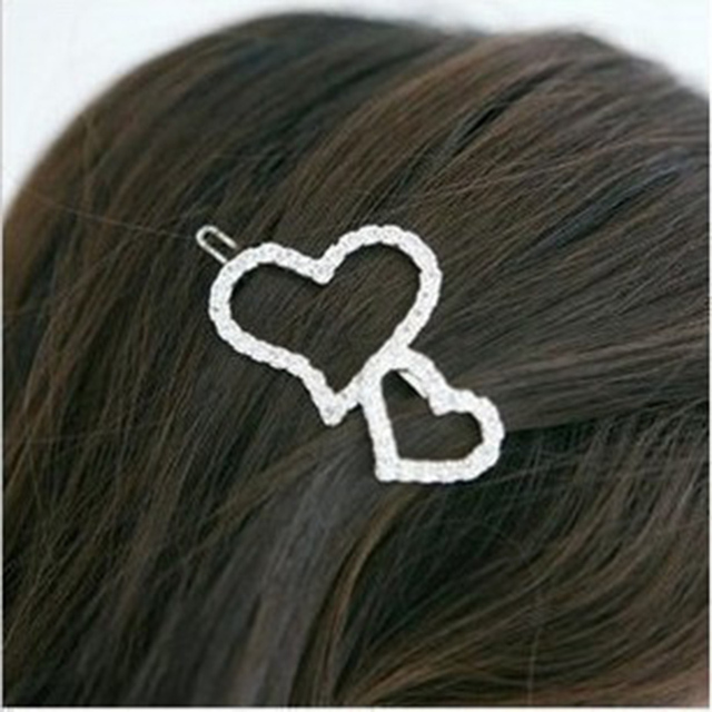 Accessories full rhinestone cutout heart side-knotted clip love hair pin girls hair bow clip accessory H013