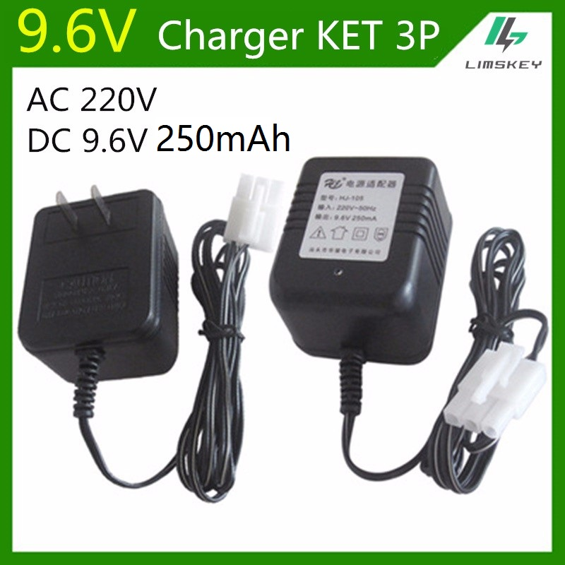 9.6V 250 mAh 3 Pin Charger For NiCd and NiMH battery pack charger For toy RC car AC 220V DC 9.6v 250mA KET 3P Plug(China (Mainland))