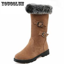 Cuero de LA PU de punta redonda tacones cuadrados mujeres de la manera de Mitad de la pantorrilla botas zapatos de la nieve, 2015 invierno Occidental dulce borla zapatos de las mujeres ocasionales(China (Mainland))