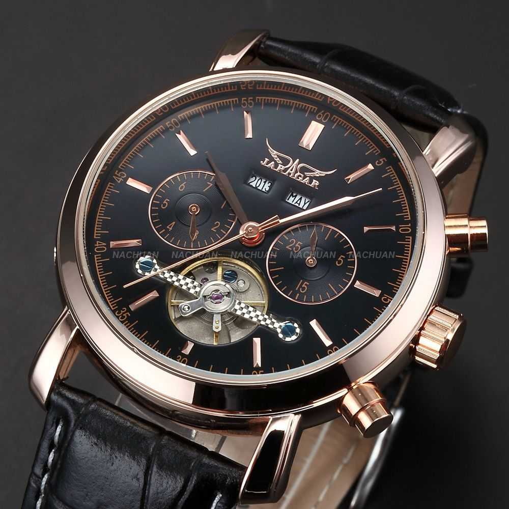 Vintage Rose Gold Stainless Steel Case Black Men's Auto Mechanical Tourbillion Leather Band Business Dress Wrist Watch/ PMW092(China (Mainland))