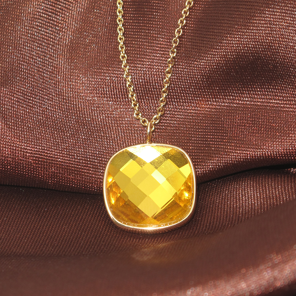 2016 Fashion Jewelry Big Yellow Crystal Charm Fit Necklace For Women Gift 3 Colors PN030(China (Mainland))