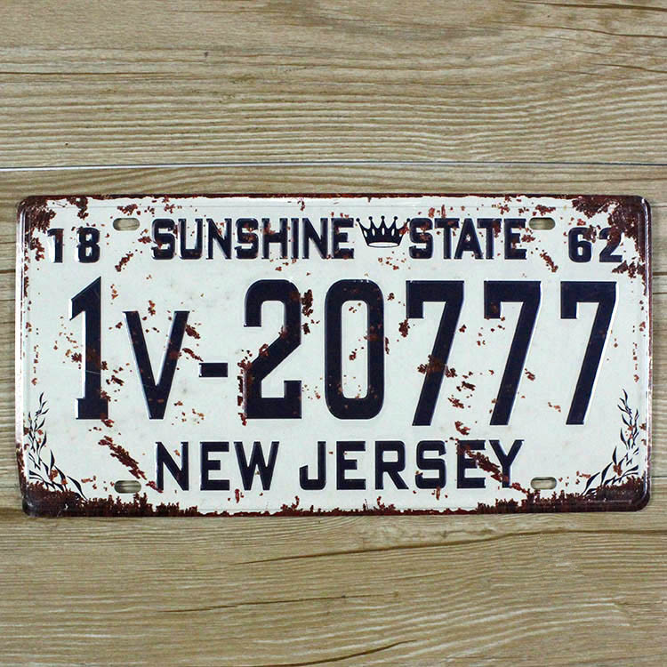 Metal Tin Signs License Plates NEW JERSEY 1v-20777 Wall art Iron Retro metal painting 15x30cm Mural XD-1258 wall pictures(China (Mainland))