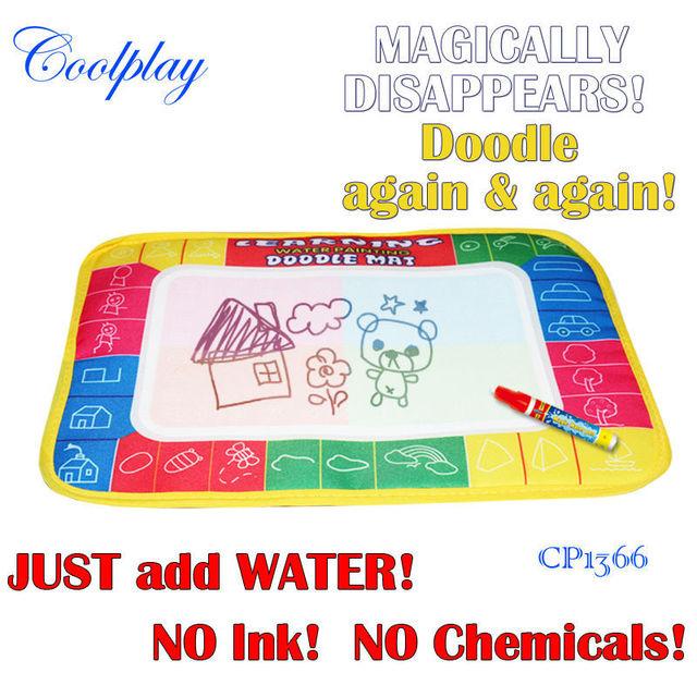 Free shipping 100pcs /Lots 29X19cm  CP1366 4 color Water  Drawing Toys Mat Aquadoodle Mat&1 Magic Pen/Water Drawing  Mat