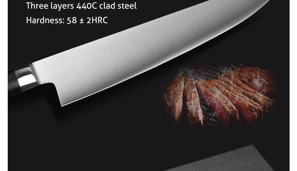 Buy XINZUO 9.5 inch butcher knife 3-layer 440C clad chef knife kitchen knives  G10 handle Japanese cleaver knife free shipping cheap
