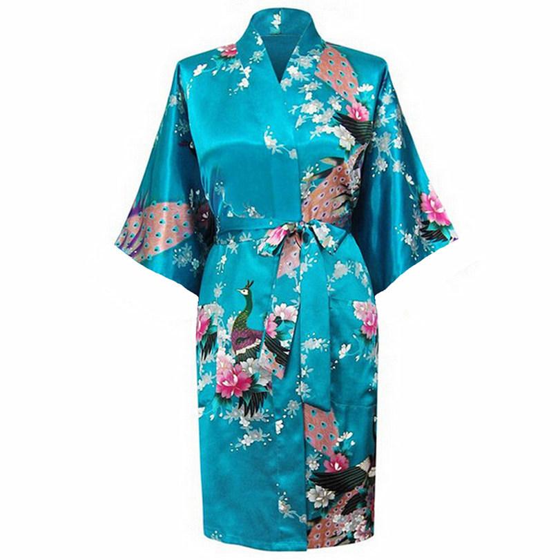 Летом синий женщин шелковые района кимоно