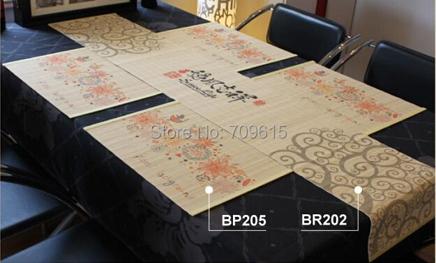 New arrival 2015 fashiong bamboo printing placemat / table runner/cheap bamboo mat home decoration dinning table cover(China (Mainland))