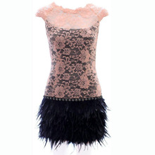 Vestido De Festa Sexy Dress Women Sleeveless Feather Lace Dress Bandage Dress Vestidos Pink Black Dress S9054(China (Mainland))