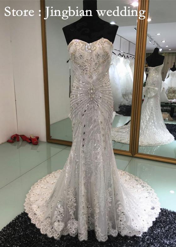 Mermaid Wedding Gowns With Long Trains : Mermaid sweetheart strapless long train luxury crystal wedding dress