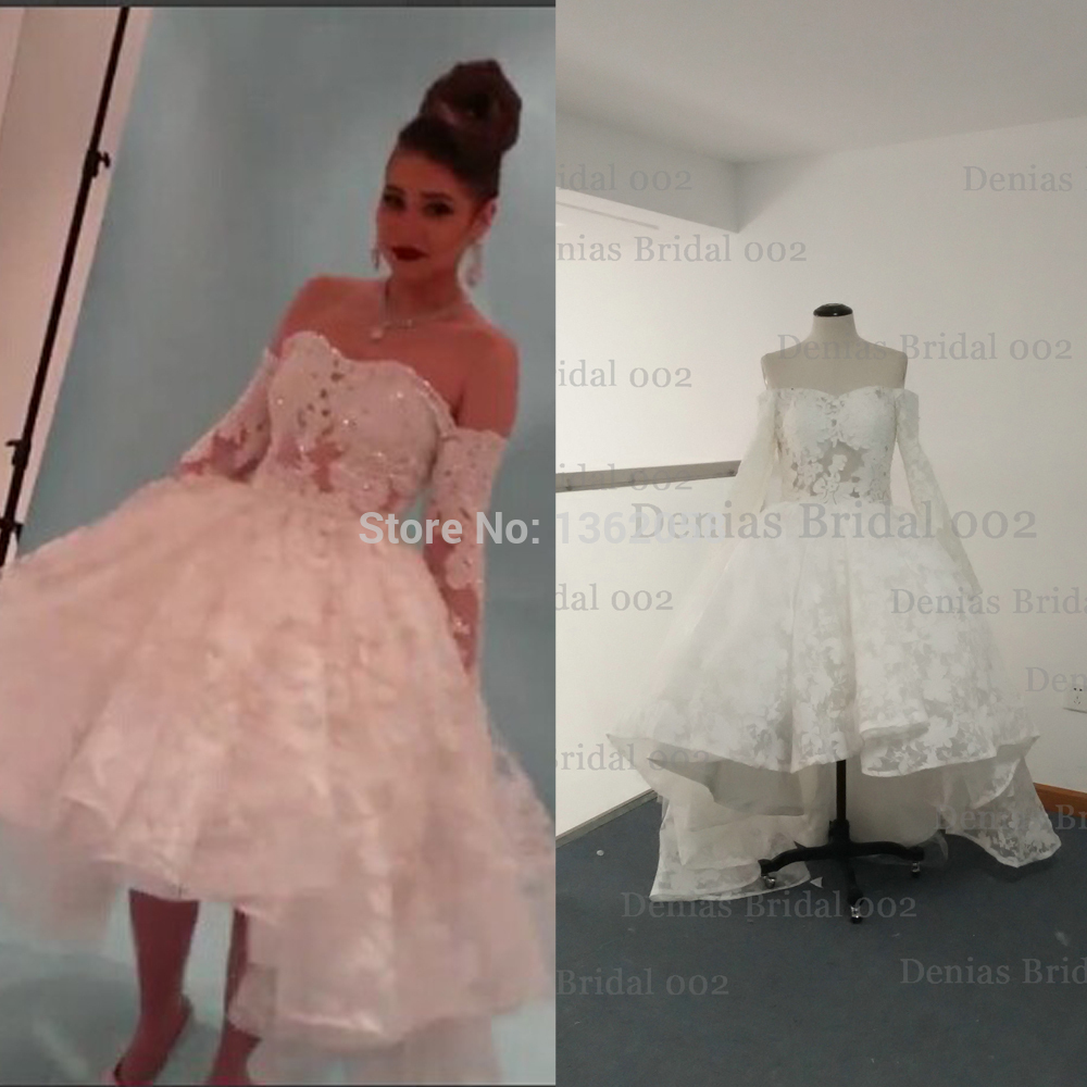Real Photos vestido de novia 2015 Yousef Aljasmi Myriam Fares Ball Gown Long Sleeve Wedding Dresses - Jaden Flagship Store Bridal Dress Factory store