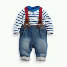 Hot New Baby Boy Long Sleeve T-shirt +Jeans Bib Pants Overall Outfits Clothes Set 2 Pcs
