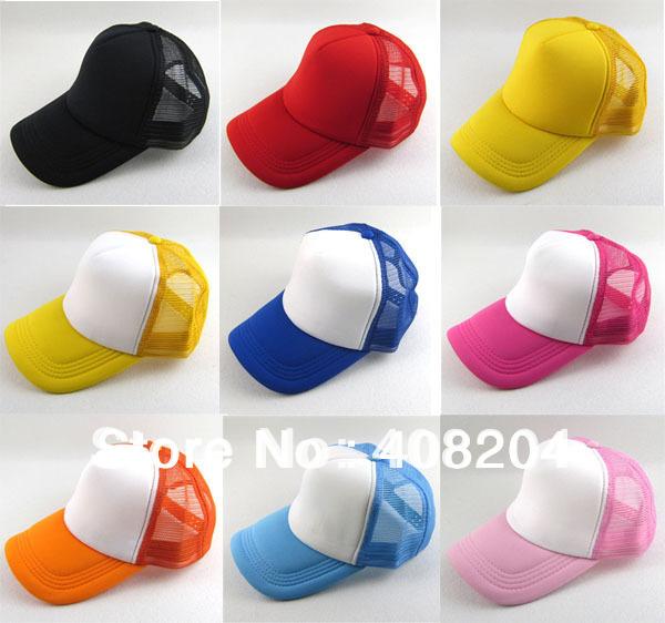 wholesale 12colors  Mesh / Plain / Blank / Trucker / baseball hat cap 5pcs/lot