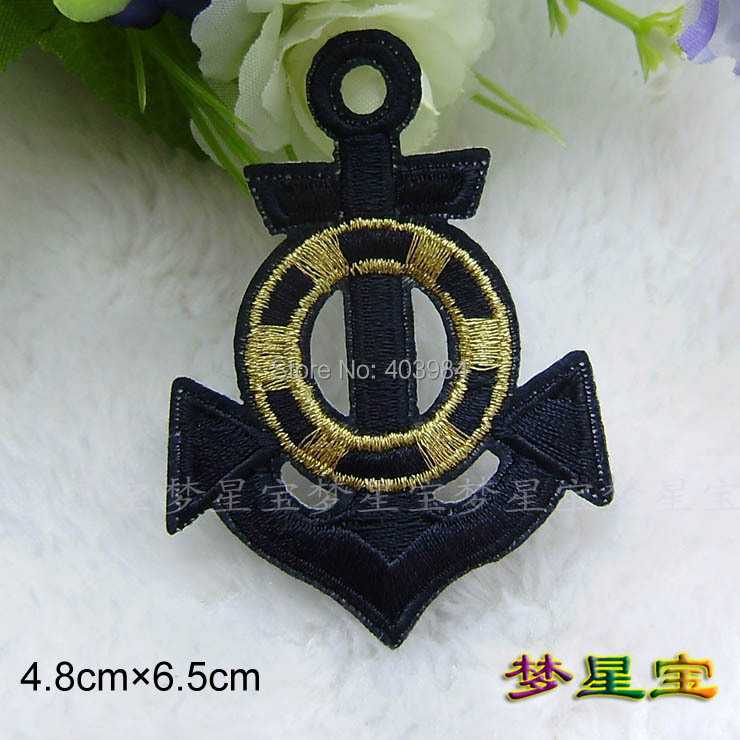 ~10 pcs/Lot Embroidered black Sea anchor -3 Sew Iron Patch Applique Badge - Mackie Wong's store