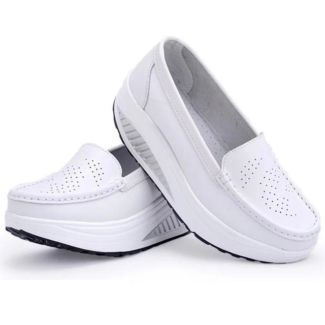 Женщины натуральная кожа обувь женское квартиры обувь девочка свободного покроя комфорт ...