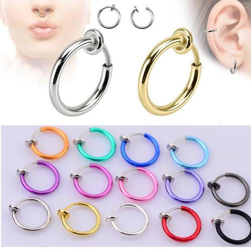 colorful faux nez anneau goth punk lip oto rhino clip on faux piercing nez l vres oreilles. Black Bedroom Furniture Sets. Home Design Ideas